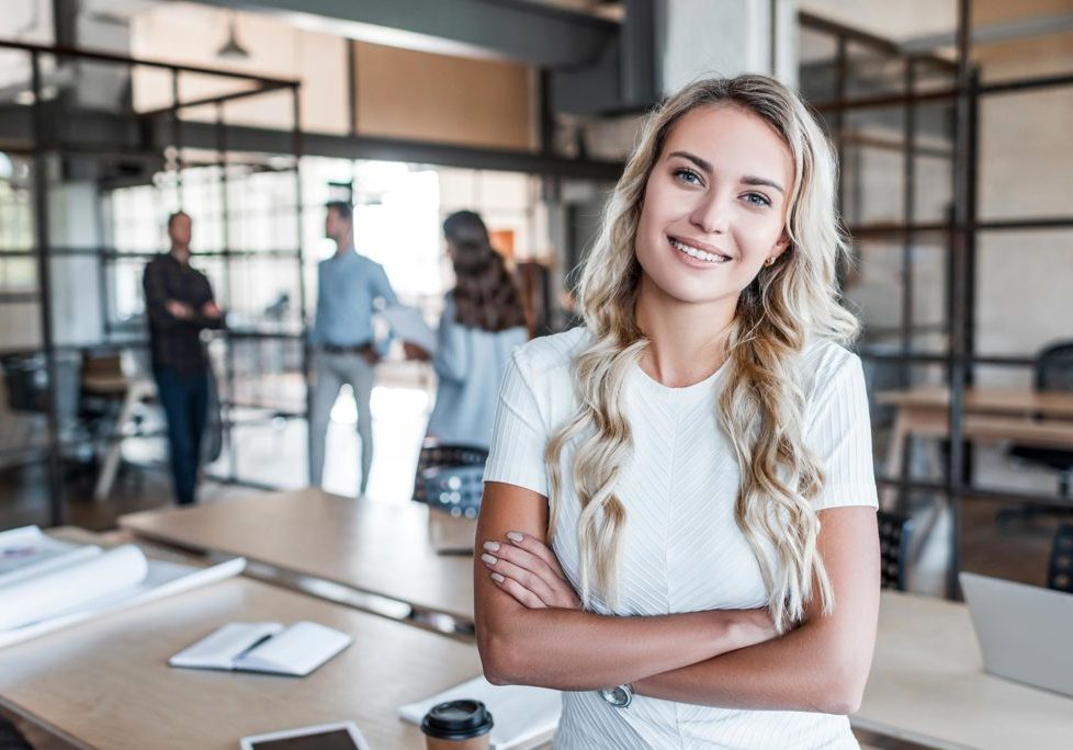 woman in co-working space